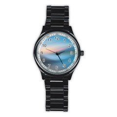 Wave Background Pattern Abstract Lines Light Stainless Steel Round Watch