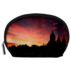 Sunset Silhouette Sun Sky Evening Accessory Pouches (large)