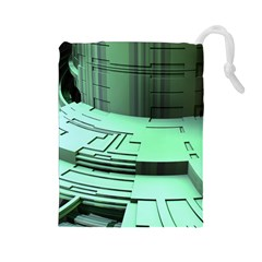 Futuristic Urban Architecture Drawstring Pouches (large)