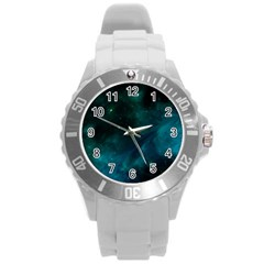 Green Space All Universe Cosmos Galaxy Round Plastic Sport Watch (l)