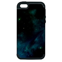 Green Space All Universe Cosmos Galaxy Apple Iphone 5 Hardshell Case (pc+silicone)
