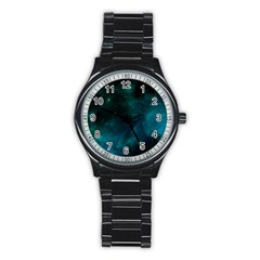 Green Space All Universe Cosmos Galaxy Stainless Steel Round Watch