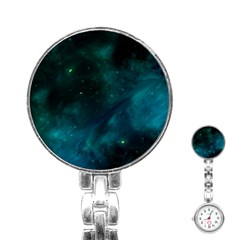 Green Space All Universe Cosmos Galaxy Stainless Steel Nurses Watch