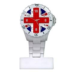 Union Jack Flag Uk Patriotic Plastic Nurses Watch