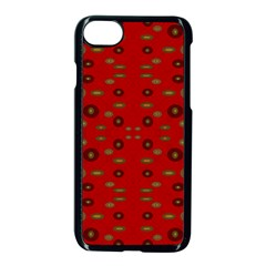 Brown Circle Pattern On Red Apple Iphone 8 Seamless Case (black)