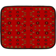 Brown Circle Pattern On Red Double Sided Fleece Blanket (mini)