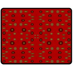 Brown Circle Pattern On Red Fleece Blanket (medium)