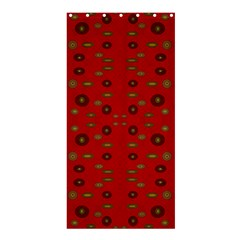 Brown Circle Pattern On Red Shower Curtain 36  X 72  (stall)