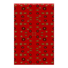 Brown Circle Pattern On Red Shower Curtain 48  X 72  (small)