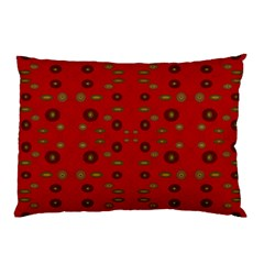 Brown Circle Pattern On Red Pillow Case (two Sides)