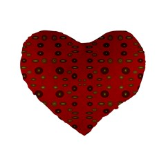 Brown Circle Pattern On Red Standard 16  Premium Heart Shape Cushions