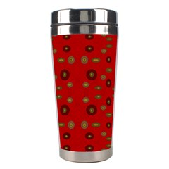 Brown Circle Pattern On Red Stainless Steel Travel Tumblers