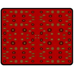 Brown Circle Pattern On Red Double Sided Fleece Blanket (medium)
