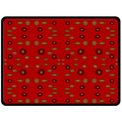 Brown Circle Pattern On Red Double Sided Fleece Blanket (large)
