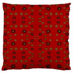 Brown Circle Pattern On Red Large Flano Cushion Case (two Sides)