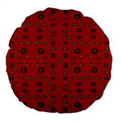 Brown Circle Pattern On Red Large 18  Premium Flano Round Cushions