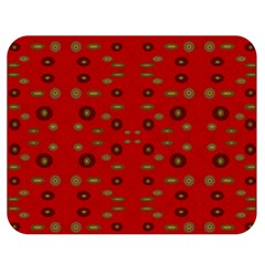 Brown Circle Pattern On Red Double Sided Flano Blanket (medium)