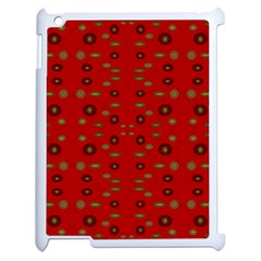 Brown Circle Pattern On Red Apple Ipad 2 Case (white)