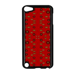 Brown Circle Pattern On Red Apple Ipod Touch 5 Case (black)