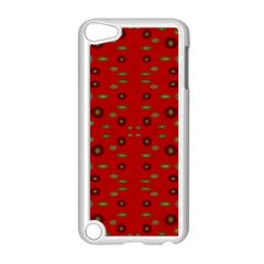 Brown Circle Pattern On Red Apple Ipod Touch 5 Case (white)