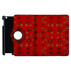 Brown Circle Pattern On Red Apple Ipad 2 Flip 360 Case