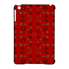 Brown Circle Pattern On Red Apple Ipad Mini Hardshell Case (compatible With Smart Cover)