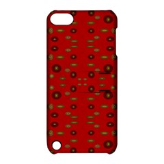 Brown Circle Pattern On Red Apple Ipod Touch 5 Hardshell Case With Stand