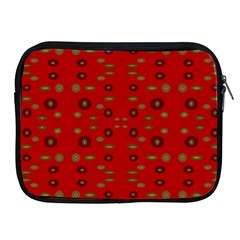 Brown Circle Pattern On Red Apple Ipad 2/3/4 Zipper Cases