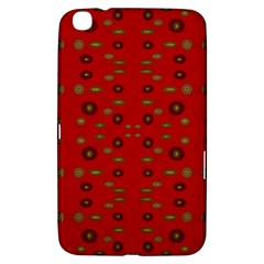 Brown Circle Pattern On Red Samsung Galaxy Tab 3 (8 ) T3100 Hardshell Case