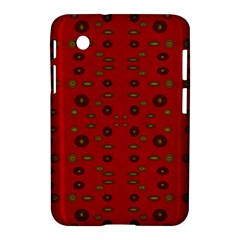 Brown Circle Pattern On Red Samsung Galaxy Tab 2 (7 ) P3100 Hardshell Case