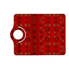 Brown Circle Pattern On Red Kindle Fire Hd (2013) Flip 360 Case