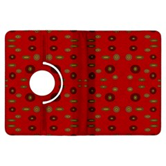 Brown Circle Pattern On Red Kindle Fire Hdx Flip 360 Case