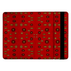 Brown Circle Pattern On Red Samsung Galaxy Tab Pro 12 2  Flip Case