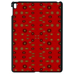 Brown Circle Pattern On Red Apple Ipad Pro 9 7   Black Seamless Case