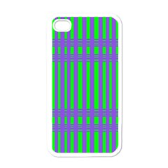 Bright Green Purple Stripes Pattern Apple Iphone 4 Case (white)