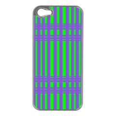 Bright Green Purple Stripes Pattern Apple Iphone 5 Case (silver)