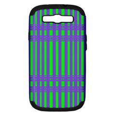 Bright Green Purple Stripes Pattern Samsung Galaxy S Iii Hardshell Case (pc+silicone)