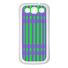 Bright Green Purple Stripes Pattern Samsung Galaxy S3 Back Case (white)