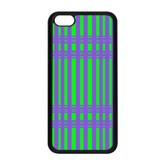 Bright Green Purple Stripes Pattern Apple Iphone 5c Seamless Case (black)