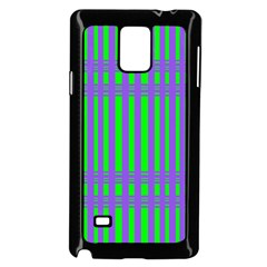 Bright Green Purple Stripes Pattern Samsung Galaxy Note 4 Case (black)