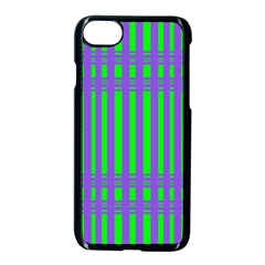 Bright Green Purple Stripes Pattern Apple Iphone 7 Seamless Case (black)