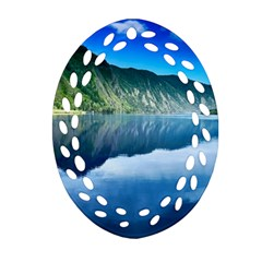 Mountain Water Landscape Nature Oval Filigree Ornament (two Sides)
