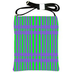 Bright Green Purple Stripes Pattern Shoulder Sling Bags
