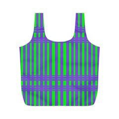 Bright Green Purple Stripes Pattern Full Print Recycle Bags (m)
