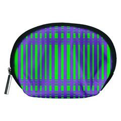 Bright Green Purple Stripes Pattern Accessory Pouches (medium)