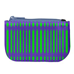 Bright Green Purple Stripes Pattern Large Coin Purse