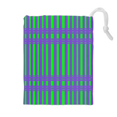Bright Green Purple Stripes Pattern Drawstring Pouches (extra Large)