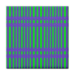 Bright Green Purple Stripes Pattern Tile Coasters