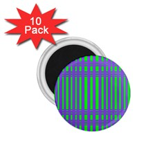 Bright Green Purple Stripes Pattern 1 75  Magnets (10 Pack)