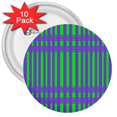 Bright Green Purple Stripes Pattern 3  Buttons (10 Pack)